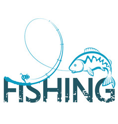 fishing design with a fishing rod vector image