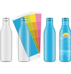 Four plastic bottles with color palette and labels vector