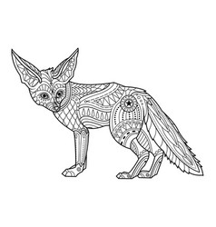 Fox coloring page hand drawn vector