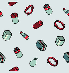 garbage color outline isometric pattern vector image