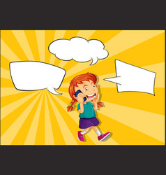 girl talking on phone with speech balloon vector image