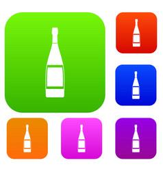 glass bottle set color collection vector image