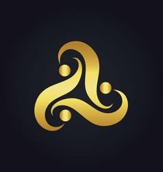 Gold abstract circle swirl logo vector