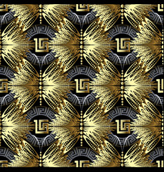 gold geometric 3d greek seamless pattern vector image