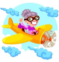 granny pilot vector image