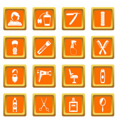 Hairdressing icons set orange vector