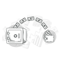 hand draw money and business cartoons vector image