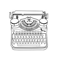 Hand drawn typewriter vintage vector