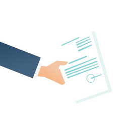 hand of businessman holding a legal document vector image