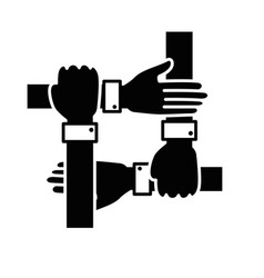 Hands teamwork symbol vector