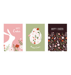happy easter greeting cards or posters with bunny vector image