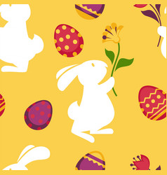 Happy easter seamless pattern with decorated eggs vector