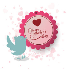happy mothers day invitation bird heart decoration vector image