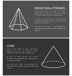 hexagonal pyramid and cone set vector image