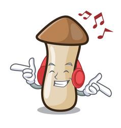 In love pleurotus erynggi mushroom mascot cartoon vector