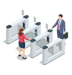 isometric turnstile access control equipment vector image