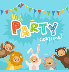 Kids party invitation with happy vector