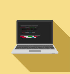 laptop icon with code editor on screen vector image