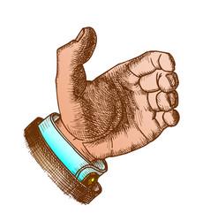 Male hand make gesture palm finger color vector