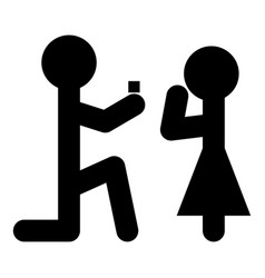 Man makes an offer woman stick icon black vector