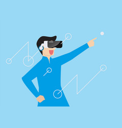 man using virtual reality headset vector image
