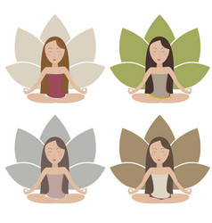 Meditating girls vector