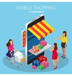 Mobile shopping e-commerce online store flat 3d vector image