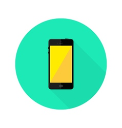 Modern Black Smartphone Flat Circle Icon vector image