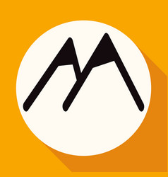 mountain icon on white circle with a long shadow vector image