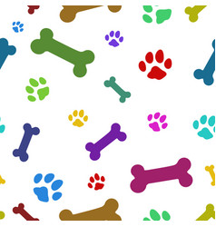 multi colored paw pattern vector image