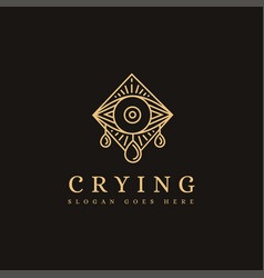 Mystical crying eye lineart logo icon template vector