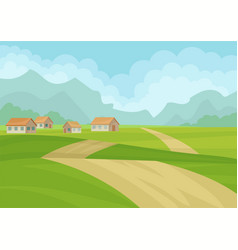 natural landscape with houses ground road green vector image