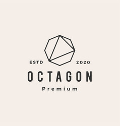 octagon hipster vintage logo icon vector image
