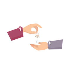 one hand giving key to another process of buying vector image
