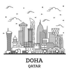 Outline doha qatar city skyline with modern vector