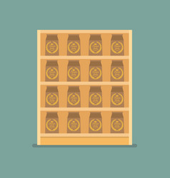 Paper bag products on shelves vector
