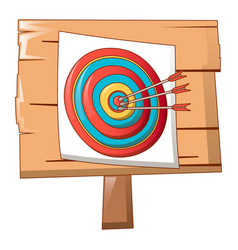 paper target on wood icon cartoon style vector image