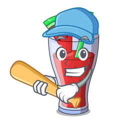 Playing baseball character tasty beverage fruit vector