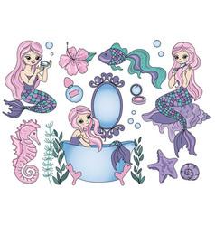 Purple mermaid sea travel clipart color vector