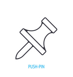 Pushpin side view outline icon vector