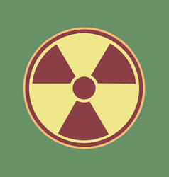 Radiation round sign cordovan icon and vector