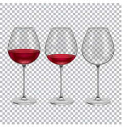 realistic glass with red wine set vector image