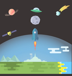 Rocket launch flat style vector