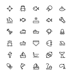Sea Line Icons 3 vector