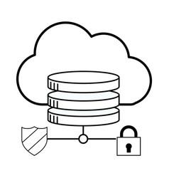 Security padlock support cartoon vector