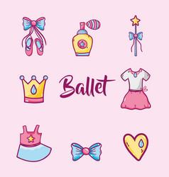 set ballet accesories decoration design vector image