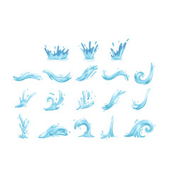 set blue waves and water splashes wavy symbols vector image
