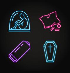 Set depression symptoms concept neon icons vector