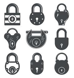 set of nine padlocks vector image