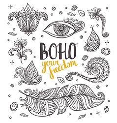 Set of Ornamental Boho Style elements vector